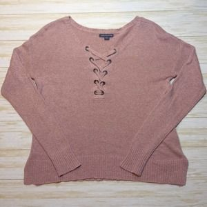 American Eagle Knit Sweater W/ Lace Up Neckline